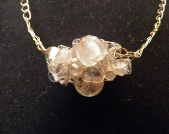 Drops of Water - Wire Wrapped Glass Beads on Gold-Tone Chain