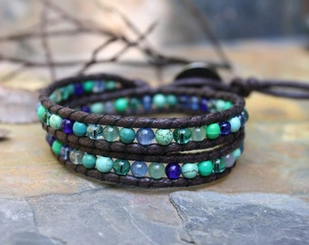 Ocean Bracelet, Double Wrap Bracelet,  Vegan Wrap, Blue Green, Beaded Wrap Bracelet, Cruelty Free Jewelry, Ocean Colors, Button Clasp, Vegan