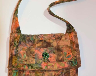 Multicolor Flower Batik Print Quilted Messenger Bag ,Purse,School Book Bag