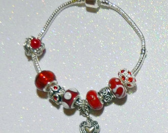 Heart and Red Crystal European Starter Charm Bracelet