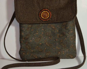 Paisley  With Brown Flap Messenger  Bag Purse with Handmade Beaded Button