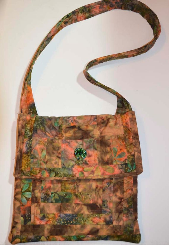 Multicolor Flower Batik Print Quilted Messenger Bag ,Purse,School Book Bag