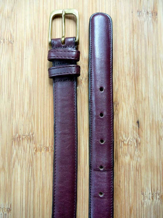 "Vintage COACH Burgundy Leather Belt 40"" / 100 cm.  Made in USA."
