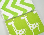 Baby Burp Cloths,  Set of Two, Giraffe and Chevron with White Minky or White Chenile