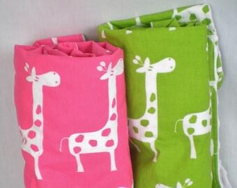 Baby Blanket, Green Giraffe with White Minky