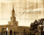 LDS Sacramento California Temple Fine Art Print Customizable Last Name for Wedding 11x14
