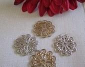 Elegant Flower Shaped Findings Beading Crafts Jewelery Scrapbooking 4 pcs
