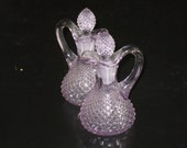 Vintage Set of Elegant Lavender Purple Cut Glass Cruet Bottles w/ Stopper Classy Depression