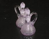 Vintage Set of Elegant Lavender Purple Cut Glass Cruet Bottles w/ Stopper Classy Depression