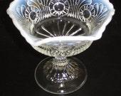 Vintage Fenton Art Glass Opalescent Footed Compote Vase