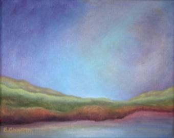 "Twilight Hills  Original Acrylic Painting on an 8"" x 10"" x 3/4"" Canvas"