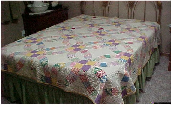 Purple and Yellow Full - Size Wedding Ring Quilt, 78 x 78, Hand Quilted, Machine Stitched