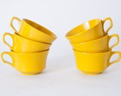 Set of 6 Mustard Yellow Melamine Cups