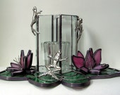 Frog Stained Glass Candle Shelter with Lilypad