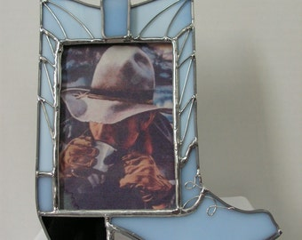Cowboy Boot Picture Frame in Stained Glass