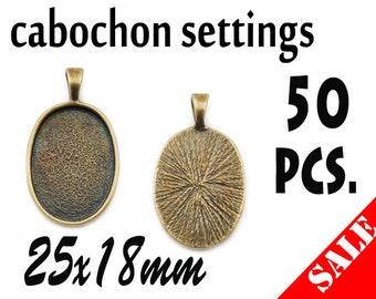50pcs. 25x18mm Antique Bronze Oval Cabochon Settings