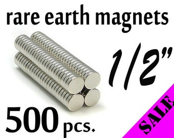 "500 pcs. 1/2"" (12mm) Neodymium (Rare Earth) Magnets"