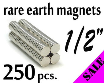 "250 pcs. 1/2"" (12mm) Neodymium (Rare Earth) Magnets"