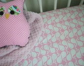Flannel Crib Sheet: Pink-a-dot Whales