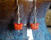 Wire wrapped red butterfly earrings