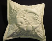 """MOON Trapunto Quilted Pillow Cover in Organic Natural Muslin 17"""" X 17"""""""