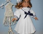 18 Inch American Girl Doll outfit White Sailor Suit Dress with blue trim plus matching hat