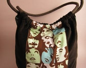 Mod Style Pastel Faces on Brown Corduroy Shoulder Bag Purse