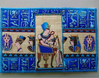 Colorful Blue Pharaoh Egyptian Fabric Postcard