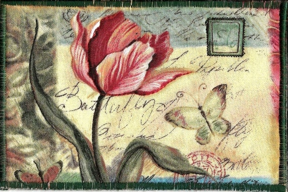 Pretty Fabric Postcard with butterfly and flower