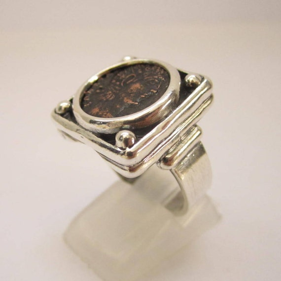 925 sterling silver men & women ring size 8.5 with authentic ancient roman coin