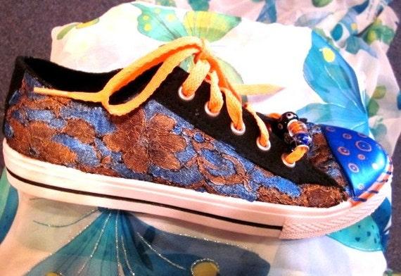 Custom painted sneakers Black lace, painted pearlescent blue and burnt orange sneaker ladies or teen