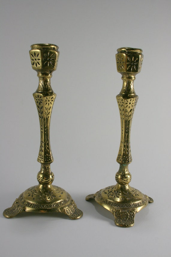 Vintage Pair Moroccan Brass Candle Stick Holders