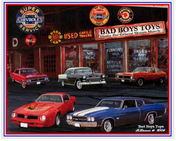 Bad Boy Toys : Items similar to muscle car art print bad boys toys