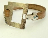 Reserved for Carolyn - Added FEE for customization - Hammered sterling silver and brown leather bracelet - Two squares.