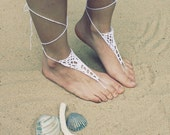 Handmade Beach Bride White Crochet Barefoot Sandals,Hippie Foot Thongs Crochet Accessories, Bridal, Bridesmaids, Summer, Beach