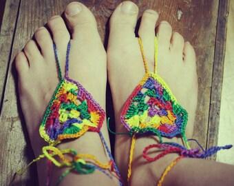 Rasta, Handmade Crochet Barefoot Sandals, Hippie Foot Thongs, Crochet Accessories, Bridal, Bridesmaids, Summer, Beach