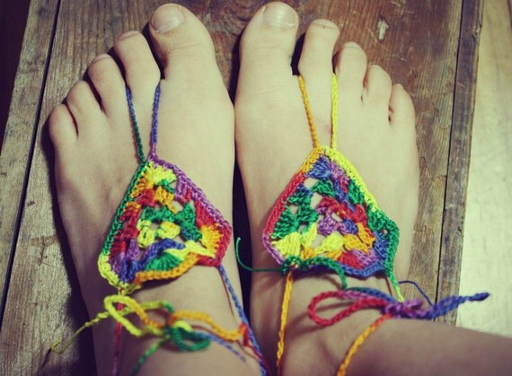 Rasta, Handmade Crochet Barefoot Sandals, Hippie Foot Thongs, Crochet Accessories, Bridal, Bridesmaids, Summer, Beach