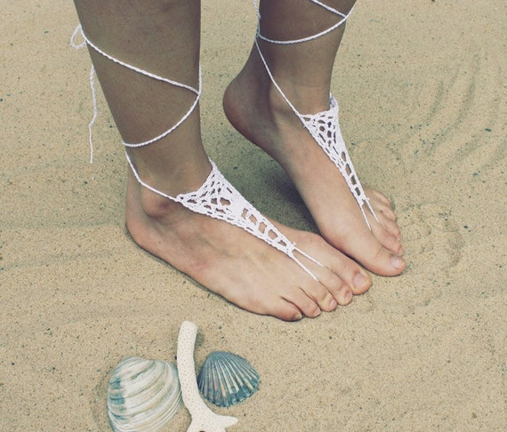 Handmade Beach Bride White Crochet Barefoot Sandals,Hippie Foot Thongs Crochet Accessories, Bridal, Bridesmaids, Summer, Beach