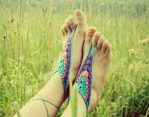 Handmade Crochet Barefoot Sandals, Hippie Foot Thongs, Crochet Accessories, Bridal, Bridesmaids, Summer, Beach