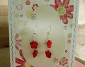 Happy Easter Card With Silver Chain&Flower Shaped Shell Earrings