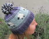 Hand Knit Sheep Hat, Purple and Blue, with Pom Pom, Proceeds to benefit Heifer International