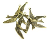 12pcs - Swallow Bird - 35mm x 15mm - Antique Bronze Brass - Charm Pendant Connector Locket  - F116
