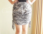 SALE Jersey Skirt with Drawstrings at The Sides Black Lace Print