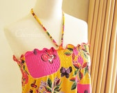 Smocked Top Orange Fruity Floral Butterfly Print