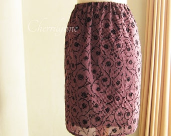 SALE Skirt with Elastic Waistband Sheer Maroon Fabric with Velvet Vines Pattern