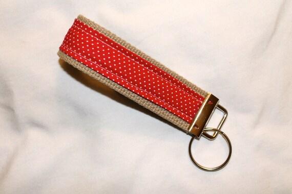 Red polka dot key fob