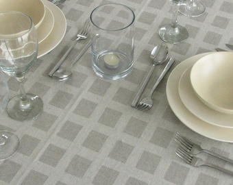 Linen Tablecloth / Squares / Window Pattern