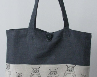 SALE 25% - Linen Shopper Bag / Tote Bag