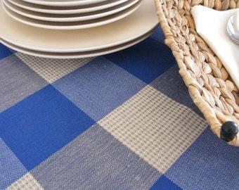 Linen Tablecloth / Blue / Window Pattern / Squares / Patio Decoration / Deck Decoration