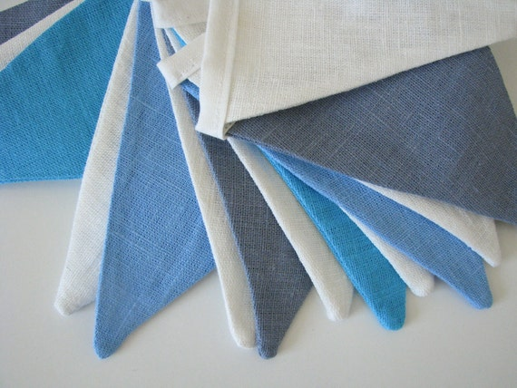 Bunting / Fabric Flag Banner / Pennant Nursery / Porch / Patio Decor / Photo Prop / Blue / Champagne White